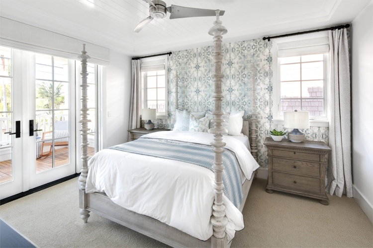 The most beautiful coastal modern bedroom! Every last detail down to the wallpaper is just stunning!