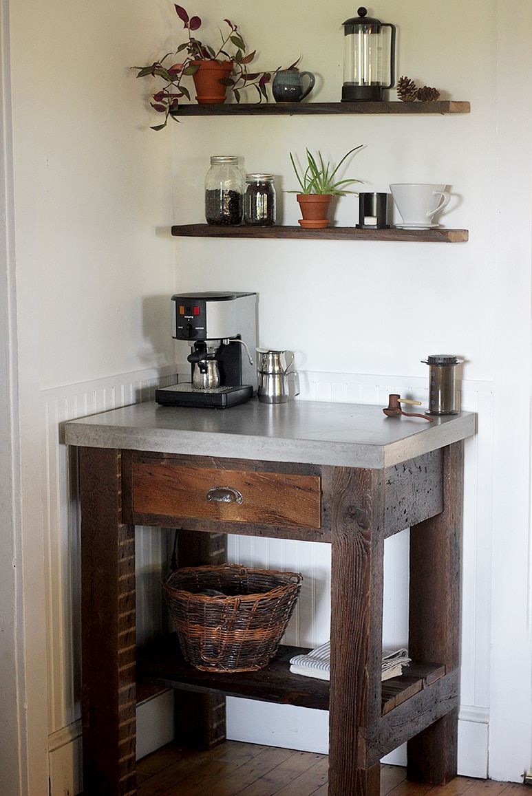 Home coffee station with floating shelves