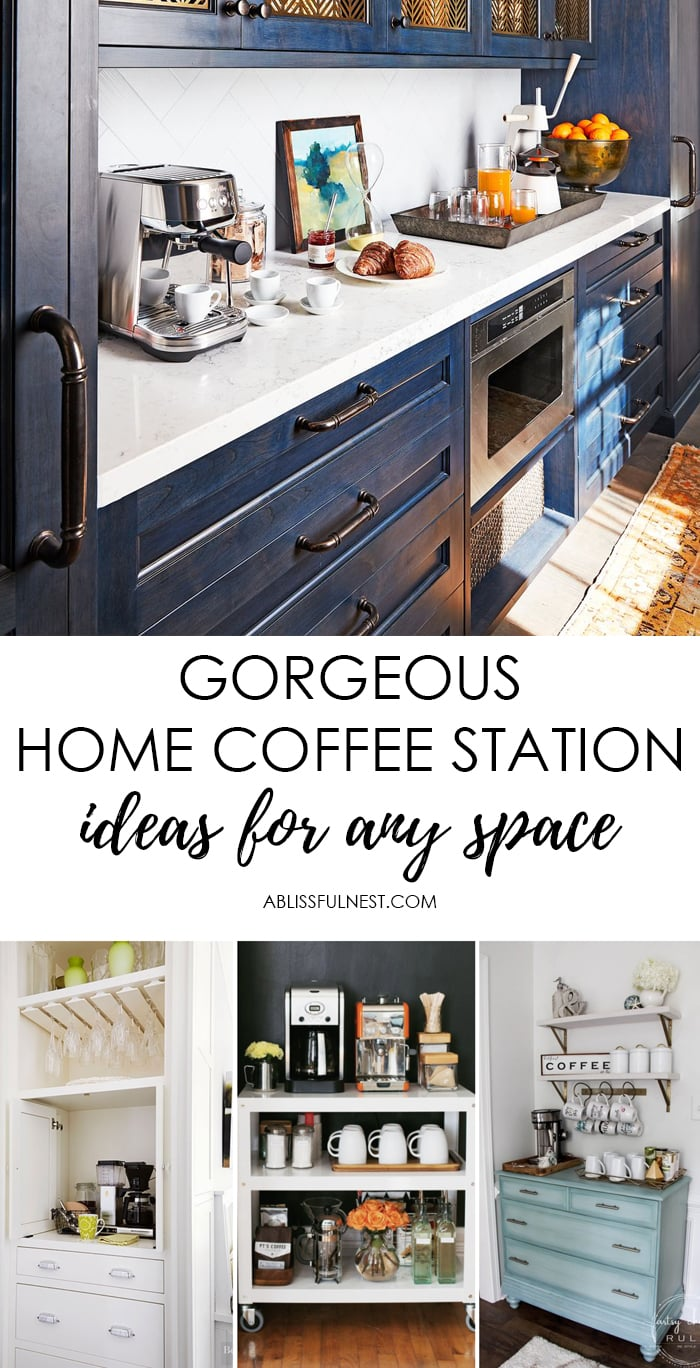 coffee station ideas for a home coffee bar. #ABlissfulNest #coffeestation #homecoffeestation #coffeebar