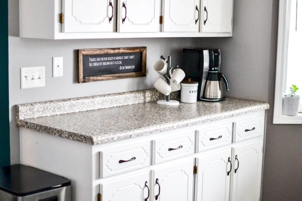 Home coffee station on a kitchen counter