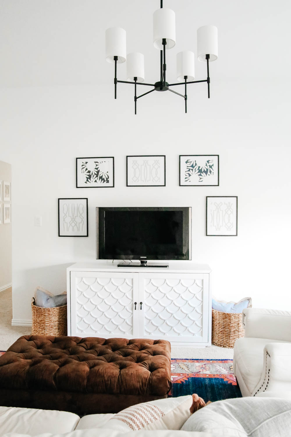 gallery wall ideas, tv wall with gallery wall, game room decor, family room ideas. #ABlissfulNest #gameroom #mediaroom