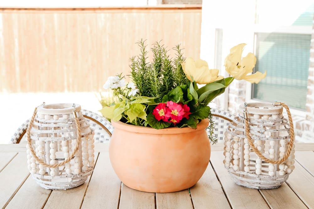 terra cotta pot, lanterns, spring patio decor ideas. #ABlissfulNest #patio #outdoor #backyard