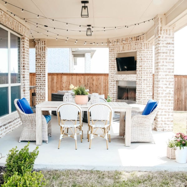 Affordable design tips to help decorate your patio for spring. #ABlissfulNest #TuesdayMorningFinds #ad #patio