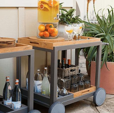 Turn a bar cart into an outdoor bar