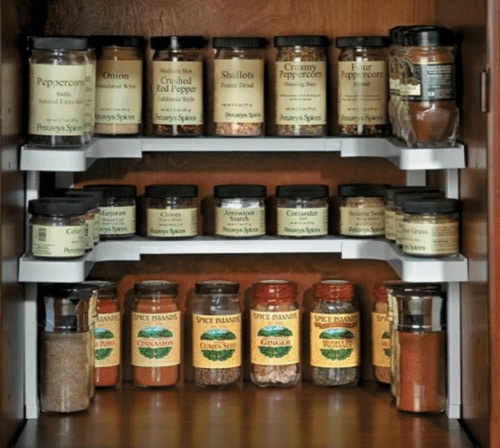 stacked spice shelves