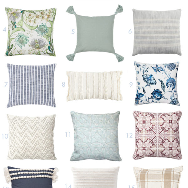 Love all these affordable stylish spring pillows to update your home! #ABlissfulNest #spring #springdecor #springhomedecor