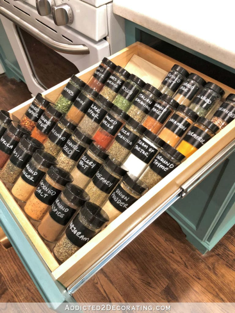 tiered spice drawer for organizing spices