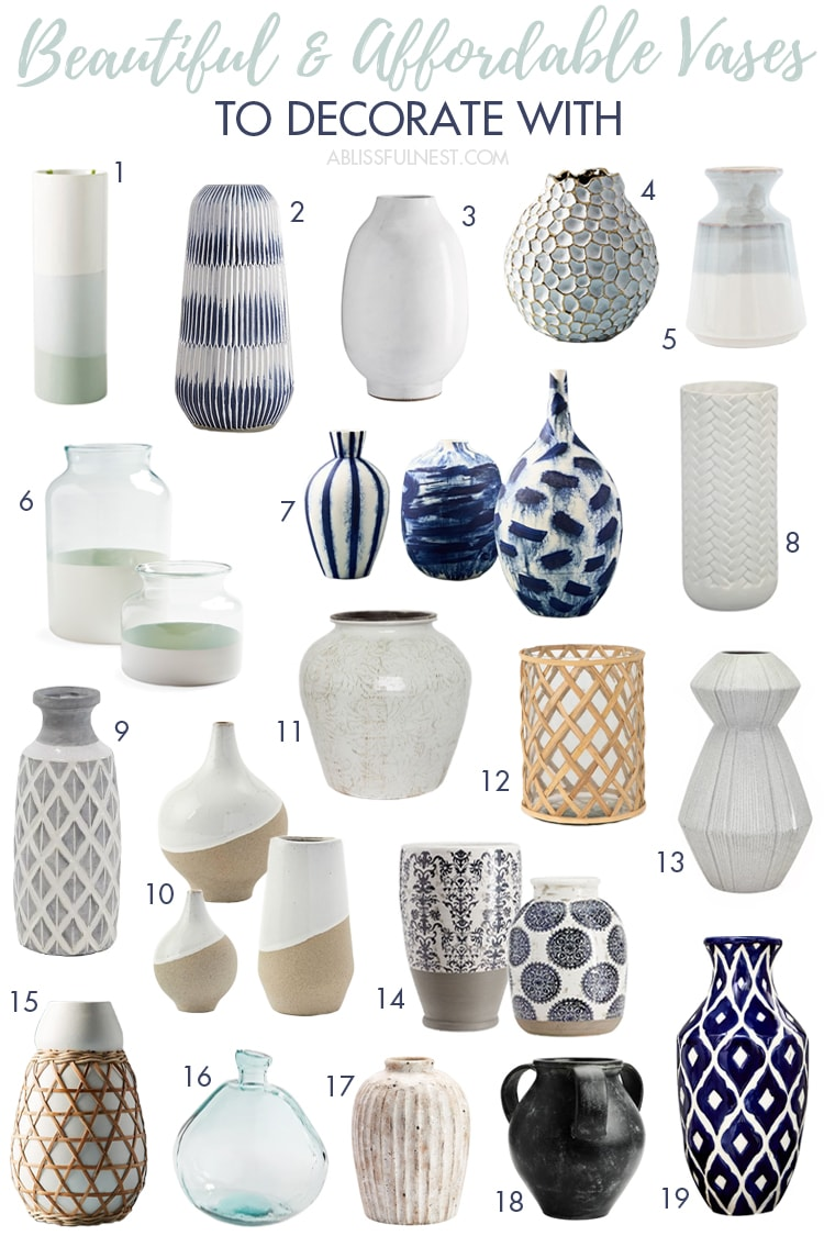 The most beautiful and affordable vases to decorate your home with! #ABlissfulNest