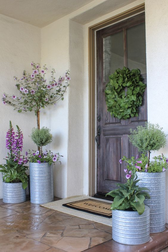 Galvanized porch planters, front porch planter ideas, plants for planters.
