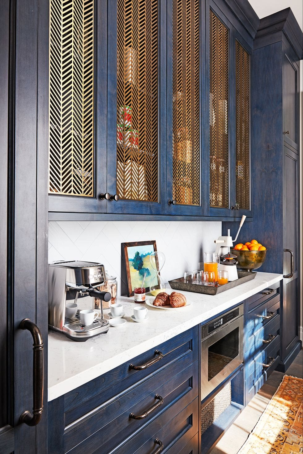 Coffee bar in a blue butlers pantry