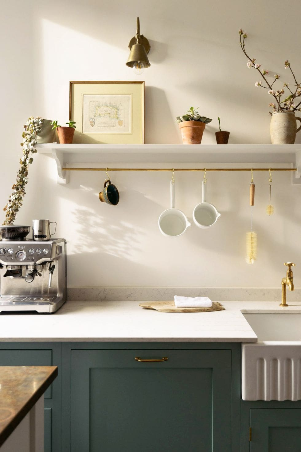 minimalist coffee bar with open shelving