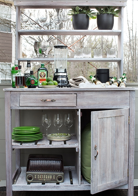 a potting bench turned into an outdoor bar