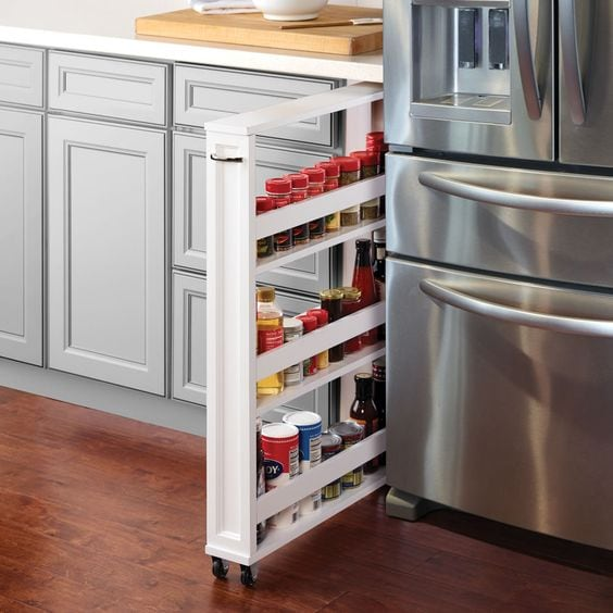 pullout spice storage in a kitchen