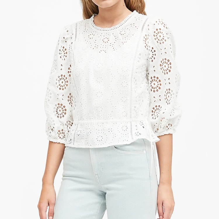 A gorgeous, eyelet lace top to wear all summer long! #ABlissfulNest