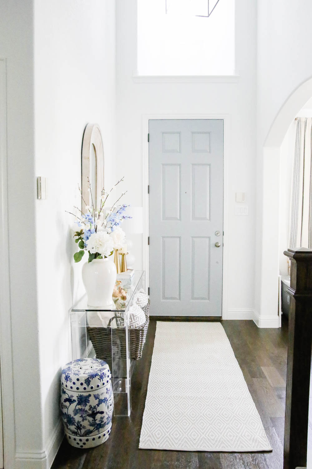 Grey blue painted door, white interior. #ABlissfulNest #whitepaint #entryway