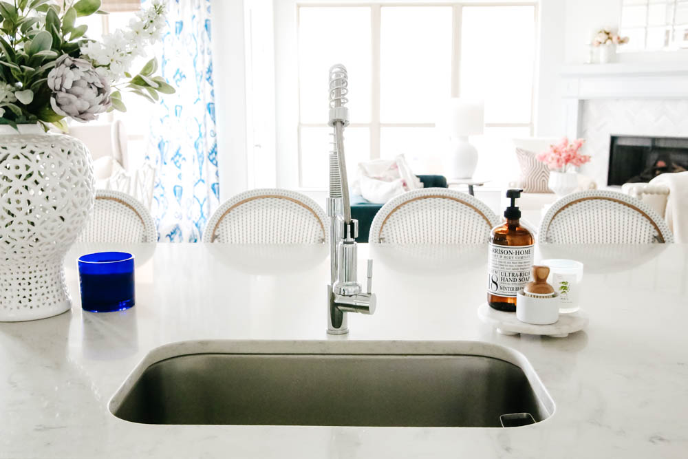 View from our sink. Lost of light in this bright white kitchen. #ABlissfulNest #whitekitchen