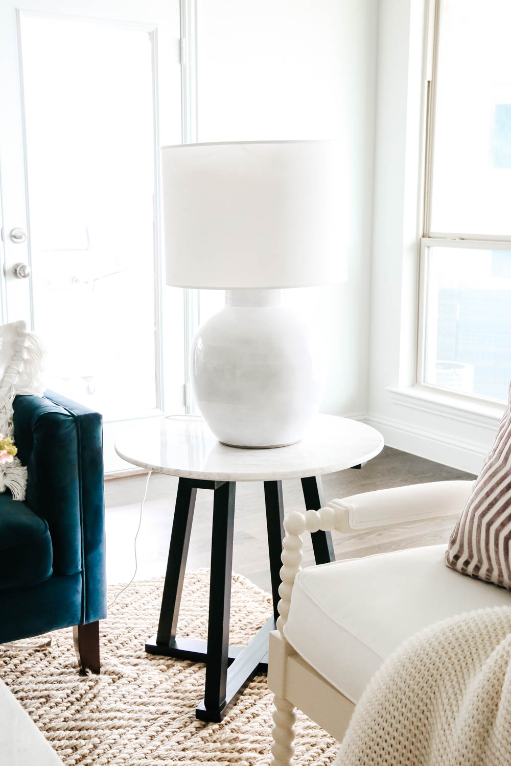 Side table from McGee and Co collection at Target, living room inspiration. #livingroom #livingroomdecor #hometour #ABlissfulNest