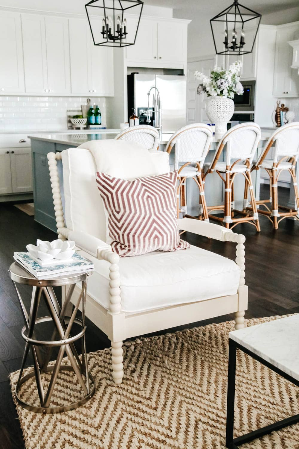 Living room inspiration. White paint, coastal style, transitional style, home tour, design tips for a living room. #livingroominspo #livingroom #hometour #ABlissfulNest