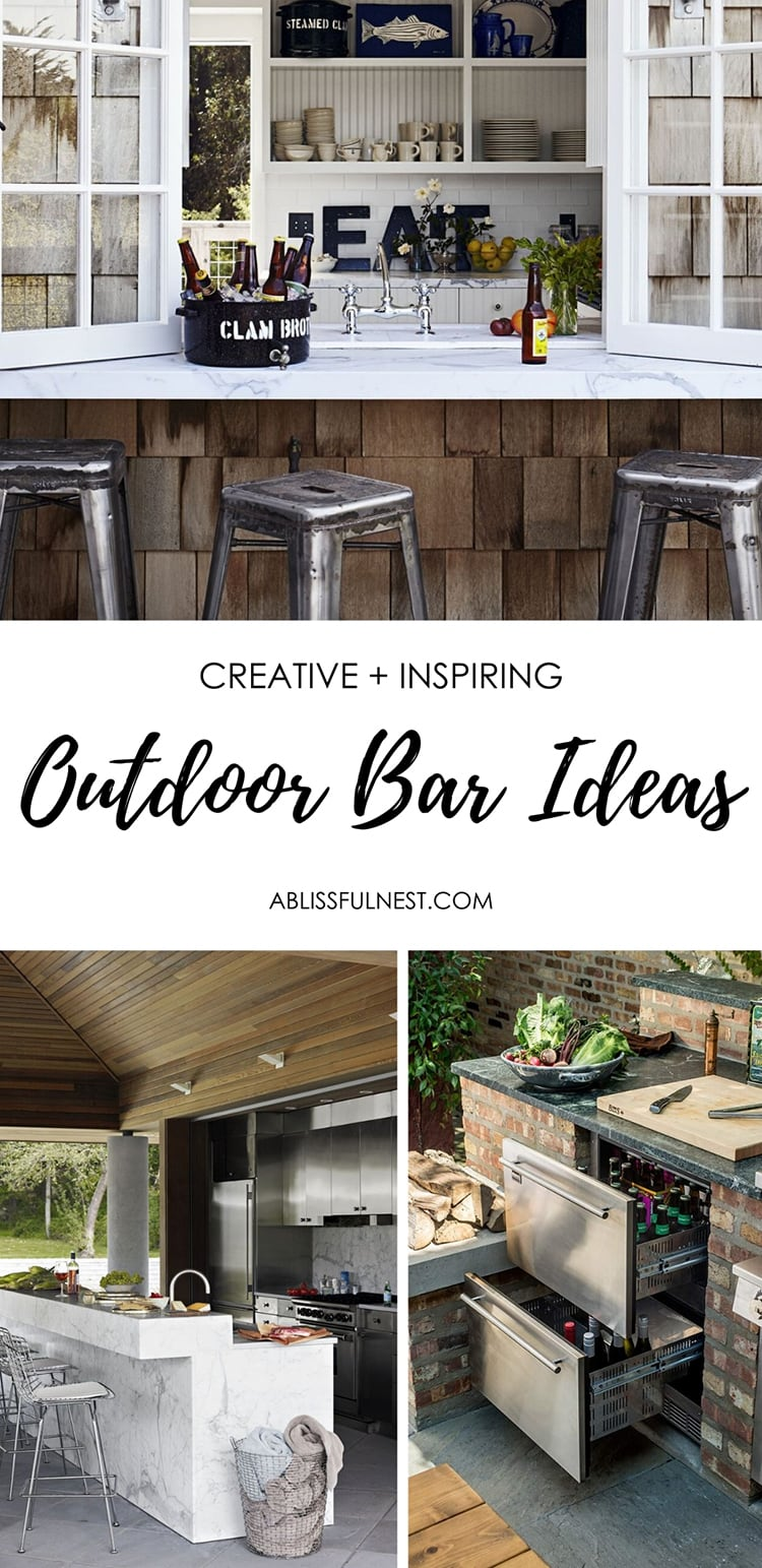 Outdoor bar ideas and kitchen ideas to help you plan your outdoor oasis. #ABlissfulNest #outdoorpatio #outdoorkitchen #outdoorbar