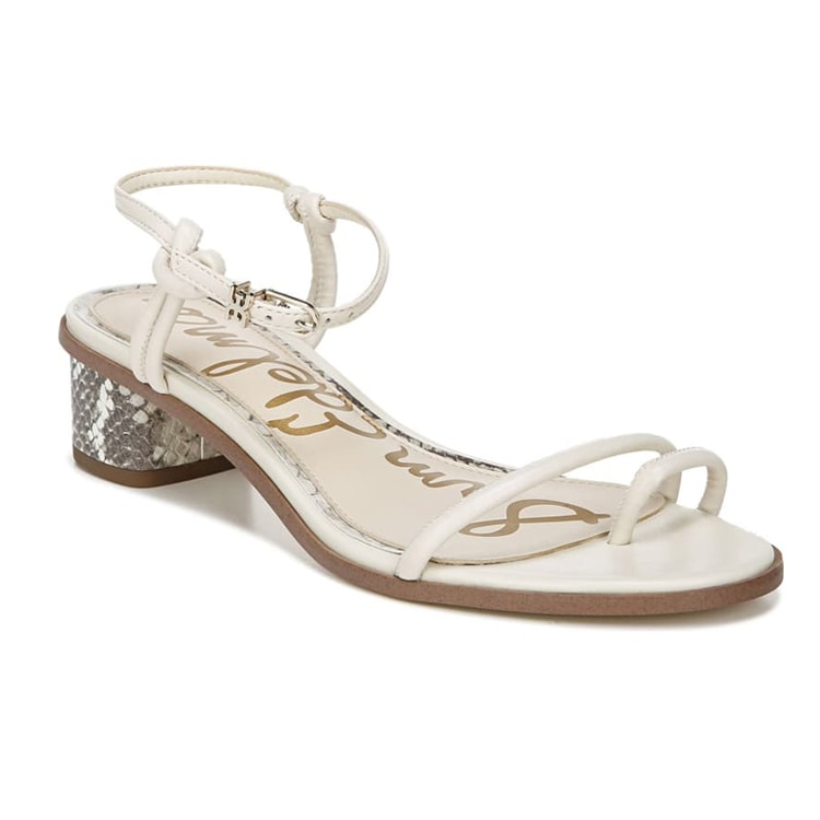 The prettiest ivory strappy sandals with a pop of snakeskin! #ABlissfulNest