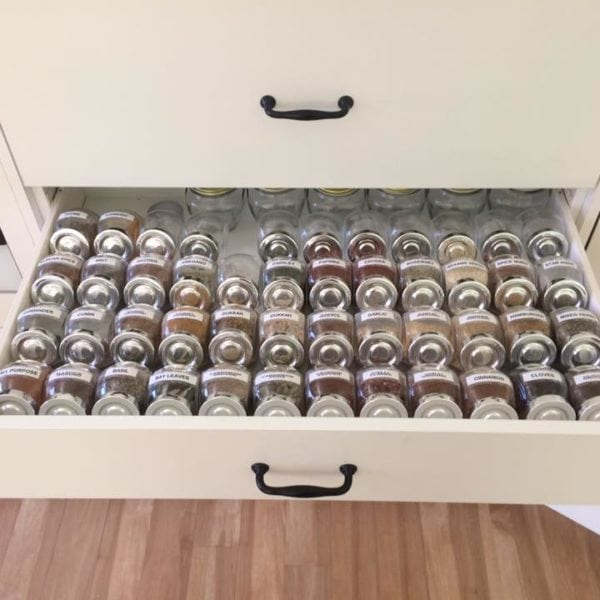 spice drawer storage and organization with labels and drawer organizer