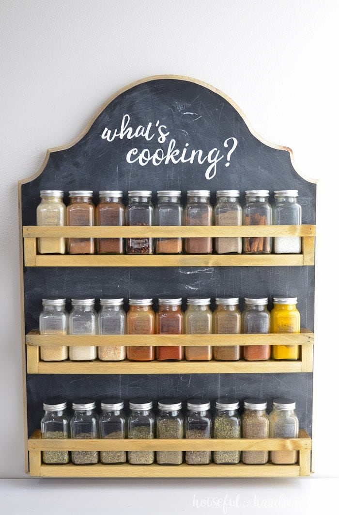 a diy spice storage idea with chalkboard