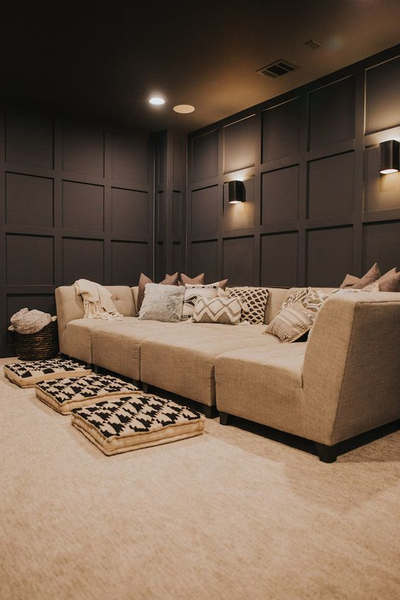 Adding visual impact like this to your theater room walls can also help with sound proofing. #theater #mediaroom #hometheater