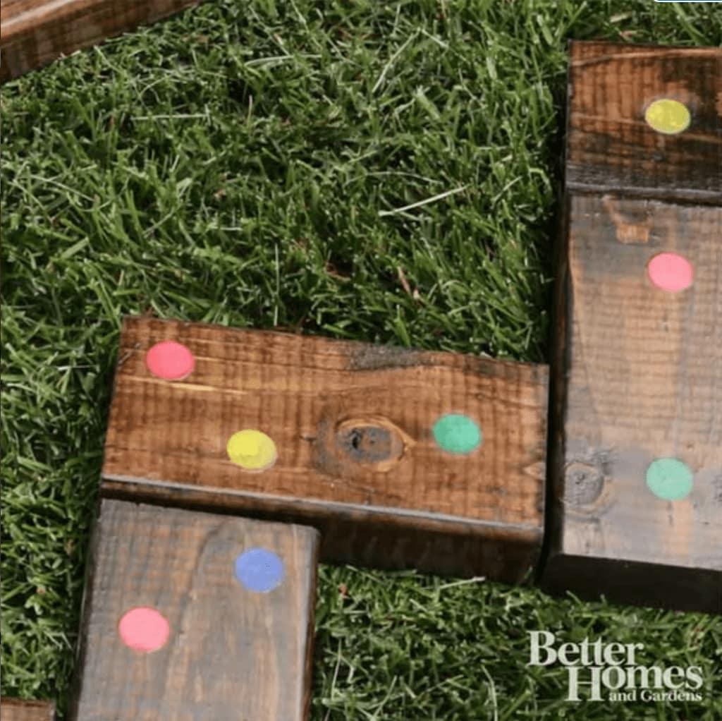 DIY wood yard dominoes on the grass