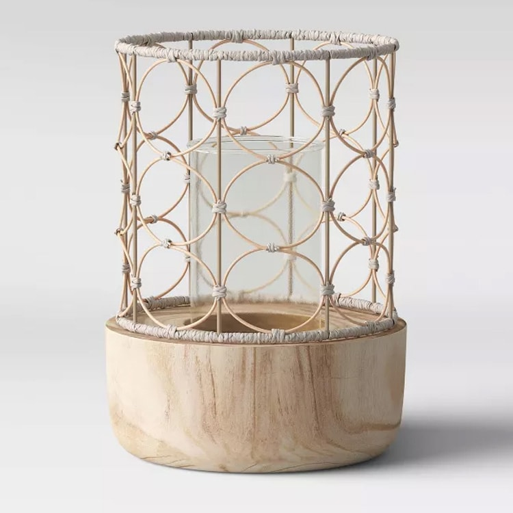 These woven and wood lanterns are the perfect for your outdoor living space! #ABlissfulNest