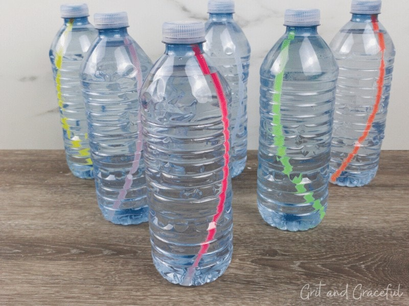 plastic water bottles with glow in the dark sticks inside them