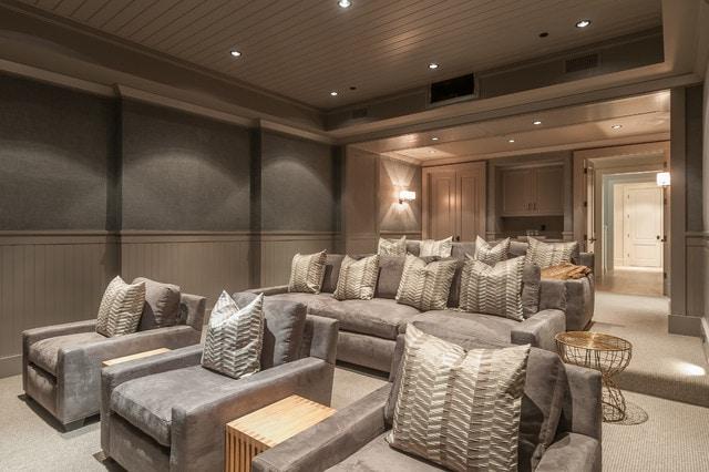 Love this stadium seating set up in this media theater room. #theaterroom #mediaroom