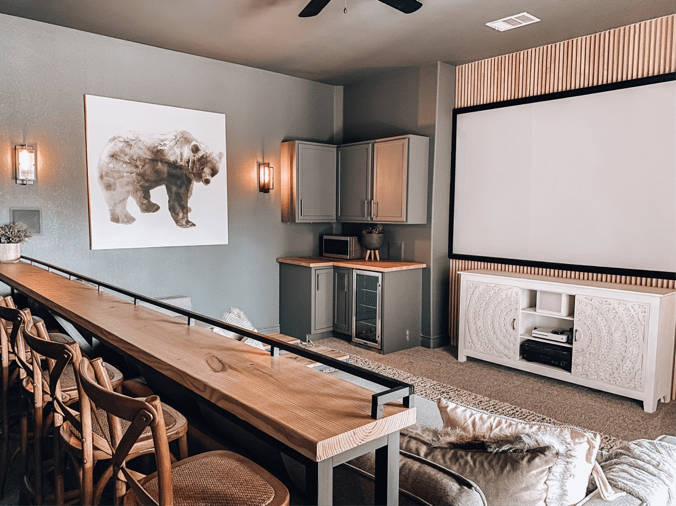 Love this amazing DIy bar top console in this at home theater room. #theater #hometheater #mediaroom