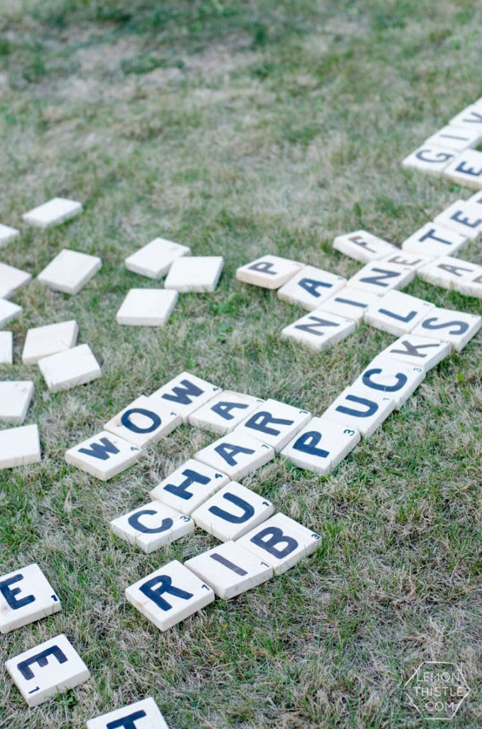yard scrabble blocks with letters on them