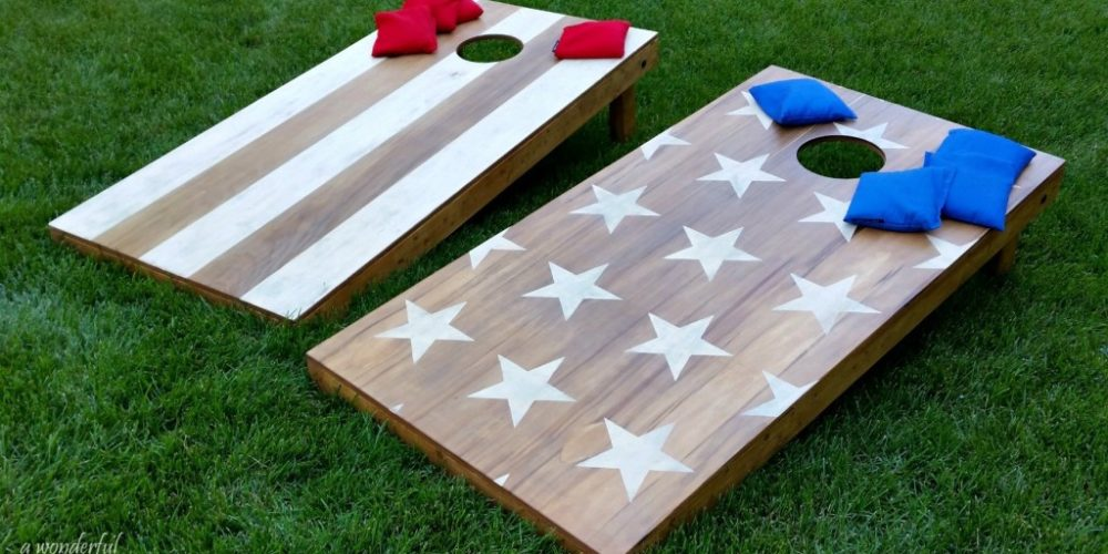 Obsessed with this easy tutorial on how to make cornhole boards