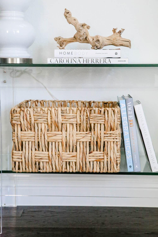 Rattan basket, coffee table books, coastal decor, entryway decor. #entryway #summerdecor #ABlissfulNest