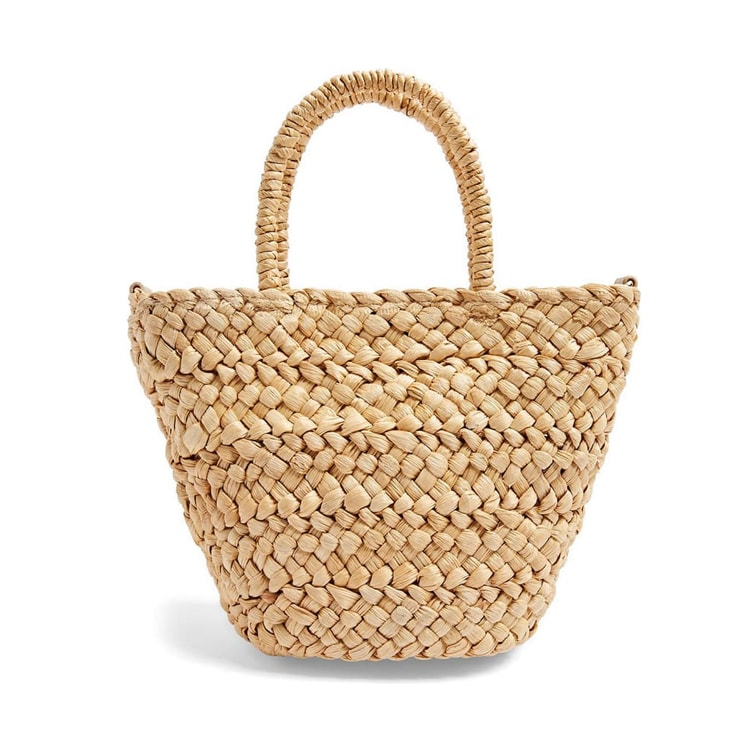 This mini straw tote is under $50 and perfect to use all summer long! #ABlissfulNest
