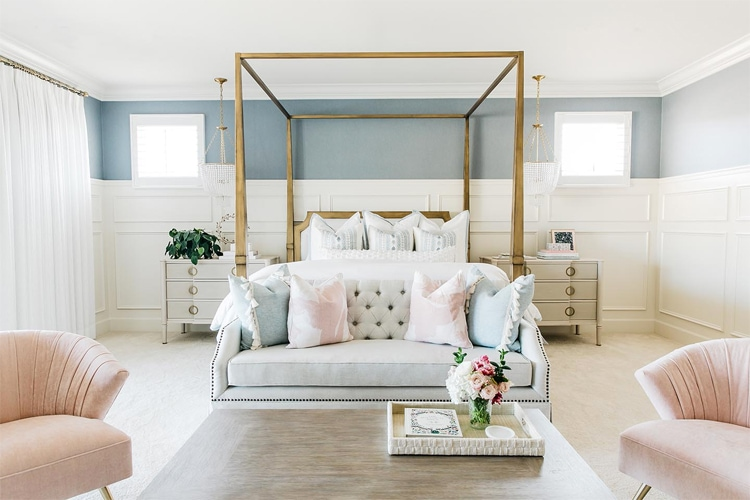 This pastel master bedroom by Tracy Lynn Studio is SO stunning!