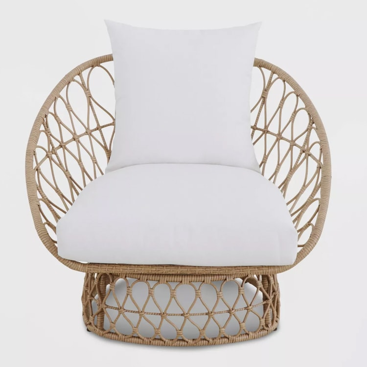 The coolest, rattan chair to add to your patio space! #ABlissfulNest