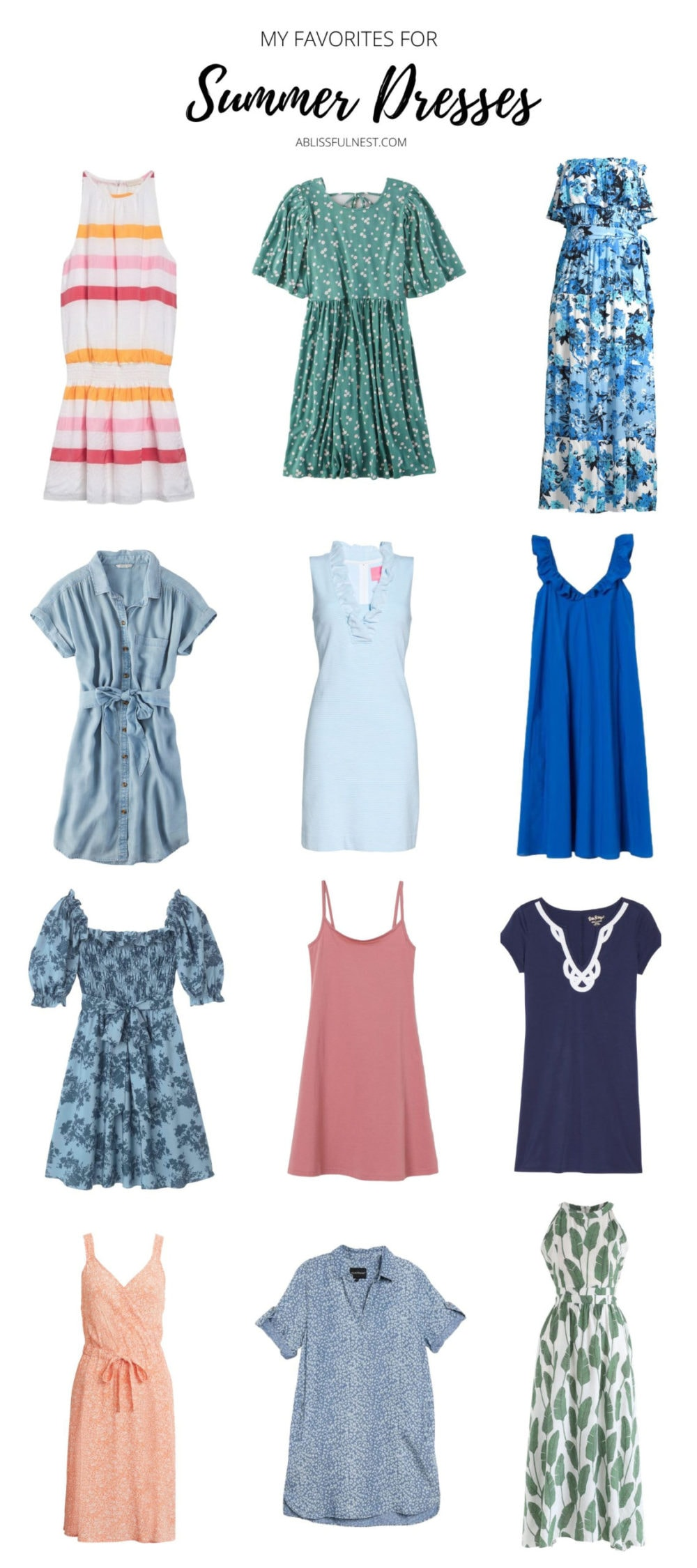 Casual summer dresses from short to maxi length and popular prints and colors. #ABlissfulNest #summer #summerclothes