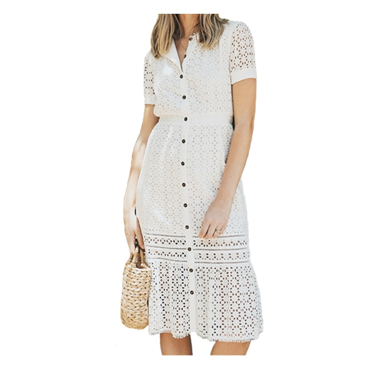 A beautiful, white midi dress for summer! #ABlissfulNest