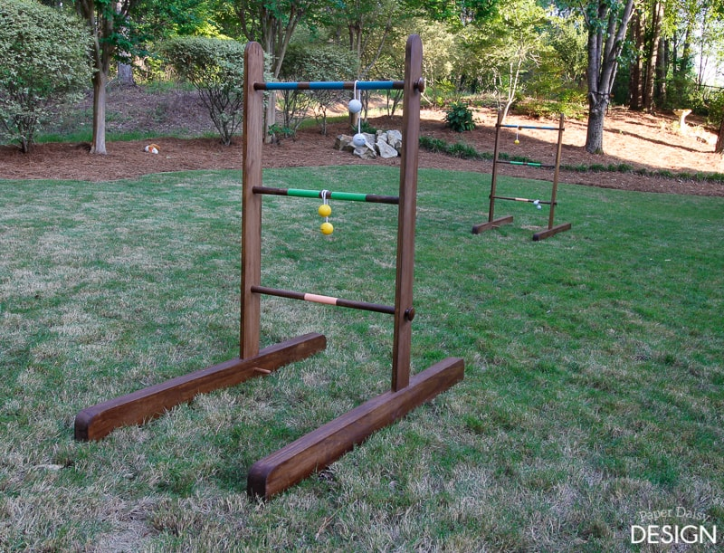 Simple tutorial on making a DIY wood ladder game for the backyard.