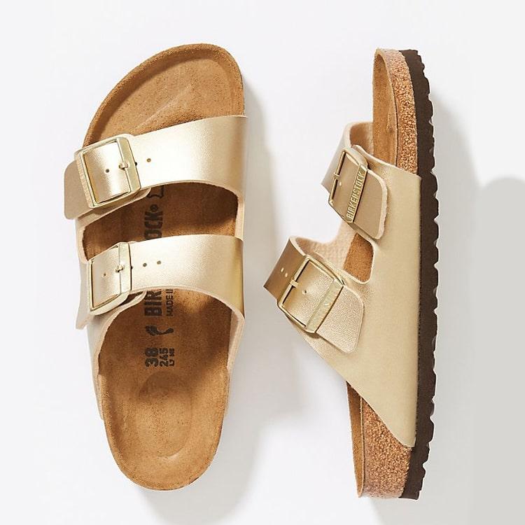 The cutest gold Birkenstock sandals for summer! #ABlissfulNest