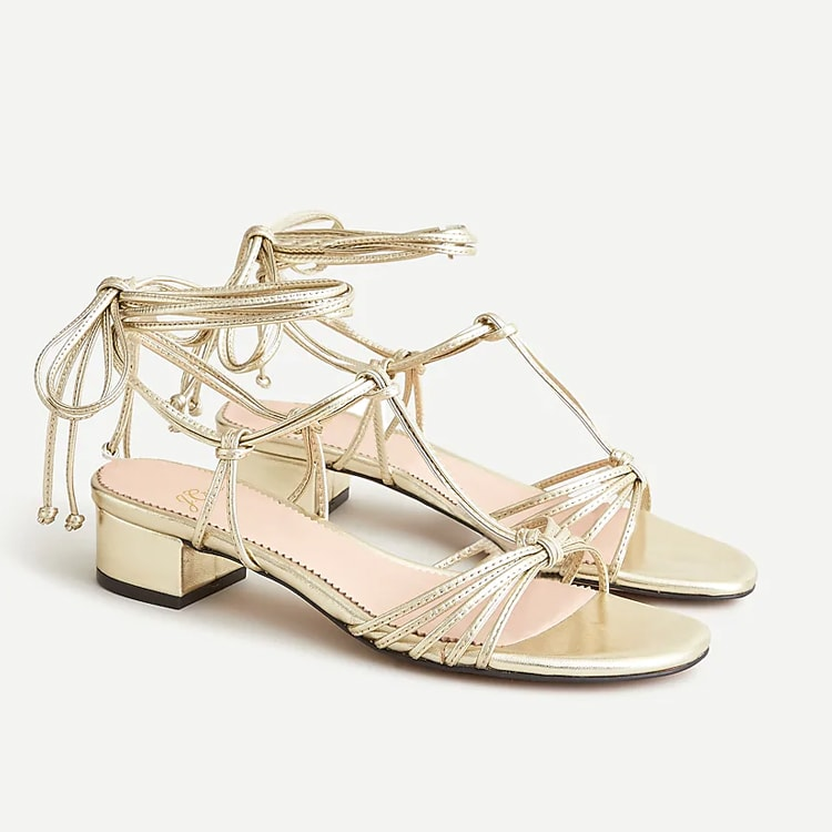 These gold leather strappy sandals are perfect to wear this summer with jeans, shorts or even a dress! #ABlissfulNest