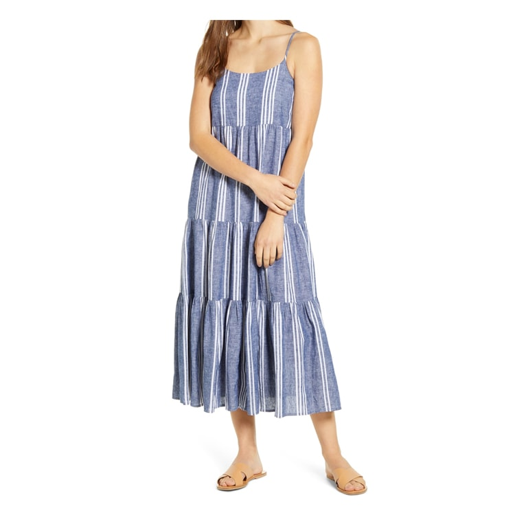 This striped linen midi dress is under $100 and a must this summer! #ABlissfulNest
