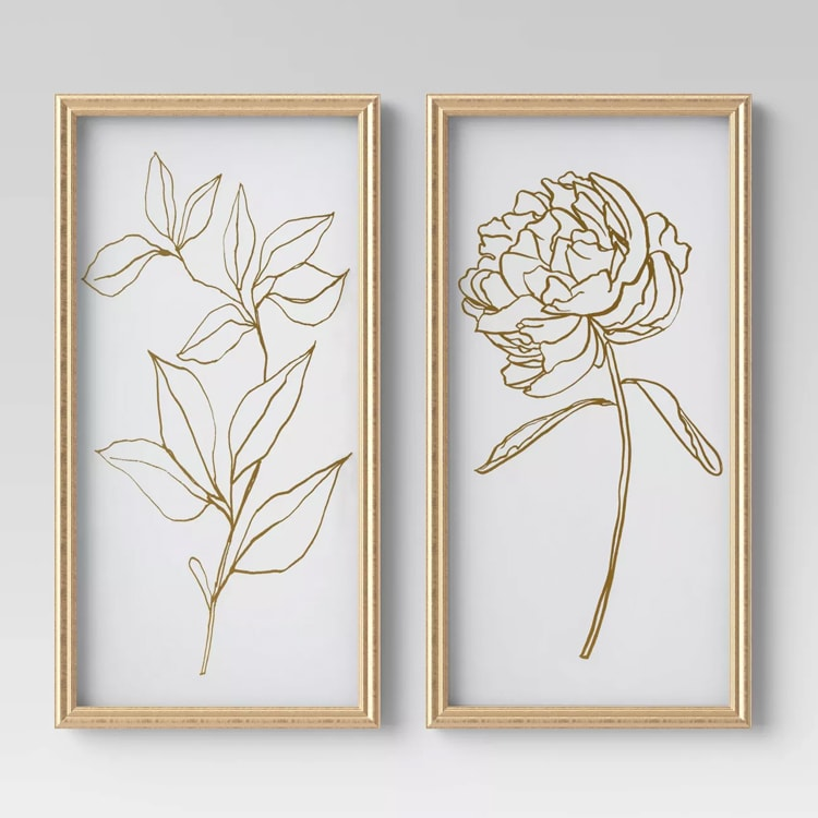 This framed floral print set is so pretty and such a fun new decor piece! #ABlissfulNest