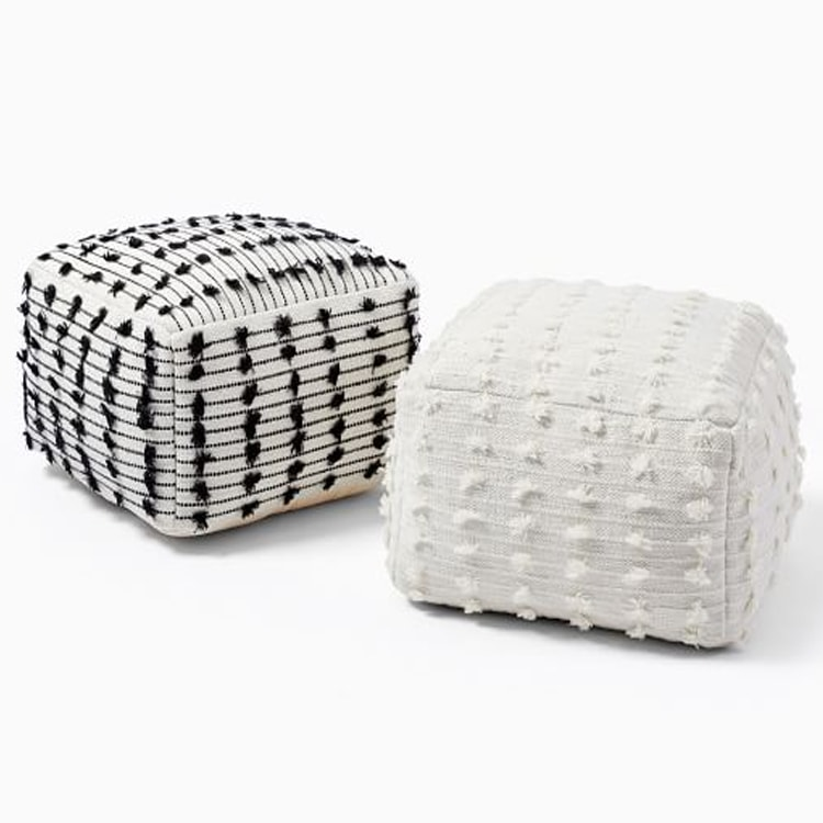 This white pom pouf is a perfect home decor addition! #ABlissfulNest