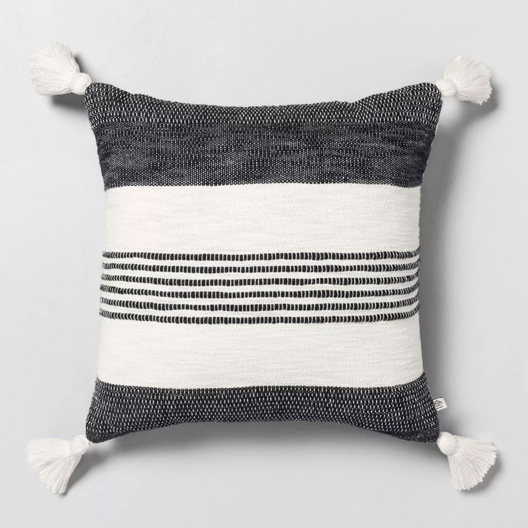 This striped tassel throw pillow is so cute and versatile! #ABlissfulNest