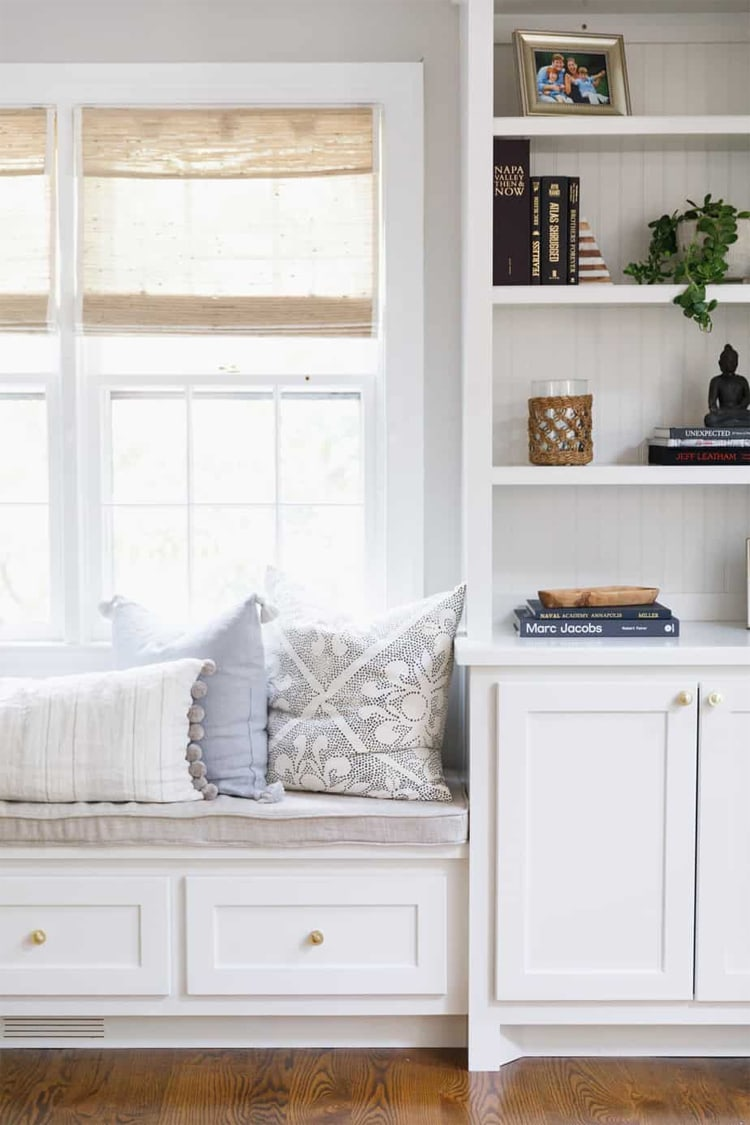 This beautiful window seat area by Valerie Wheeler Interiors is so stunning!