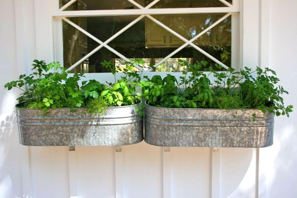 DIY galvanized tub window planters