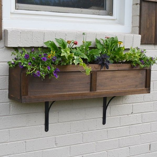 shaker-style window box filled with plants